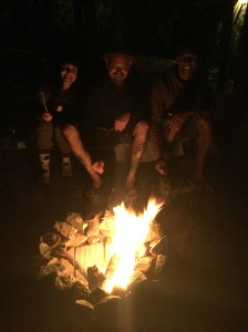 toasting marshmallows in the fire pit